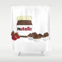nutella Shower Curtains featuring Happy break! by Cristina Munoz