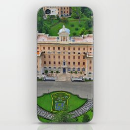 Palace of the Governorate of Vatican and the Vatican Gardens. View from the dome of St. Peter's Basi iPhone Skin