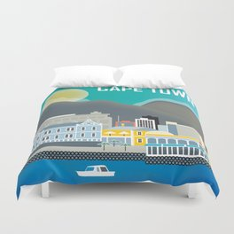 Cape Town, South Africa - Skyline Illustration by Loose Petals Duvet Cover