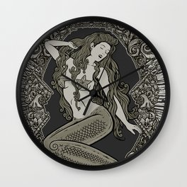 Neo Classic Mermaid Siren Sepia Wall Clock