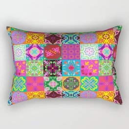 Bohemian Jungle Quilt Tiles Rectangular Pillow