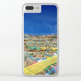 colorful prayer flags on the Tibetan mountain Clear iPhone Case