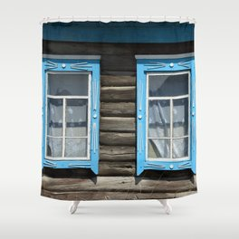 Two windows in the old wooden house Shower Curtain