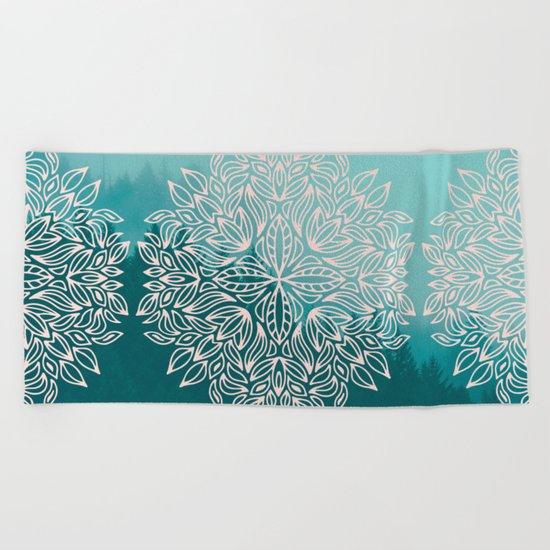 Mandala Forest Dawn Beach Towel