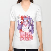 pigs V-neck T-shirts featuring men are pigs by Ginseng&Honey