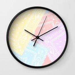 90s Rainbow Pastel Bandanas Wall Clock