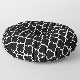 White Moroccan Quatrefoil On Darkest Black Floor Pillow