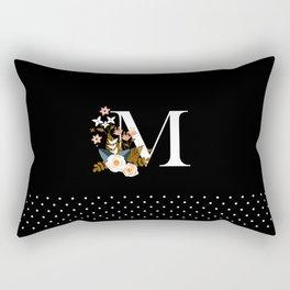 Black Monogram M Rectangular Pillow