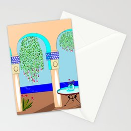 A Mediterranean Garden with Fountain Stationery Cards