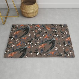 Swallows Martins and Swift pattern brown Rug