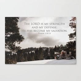 Retro Vintage Desaturated Northern Snow Covered Mountain Landscape Christianity Quote Print Canvas Print