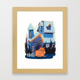 Mr. Winston is staying home today. Framed Art Print
