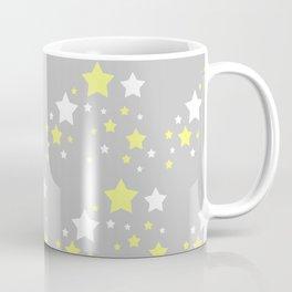Yellow White Stars on Grey Gray Coffee Mug
