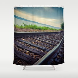 Tracks By the Lake Shower Curtain