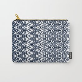 Classic blue waves, vertical wavy outline, abstract river flow Carry-All Pouch