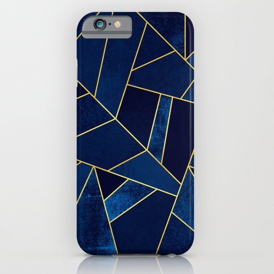 Blue stone with yellow lines iPhone & iPod Case