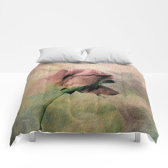 Painterly Pink Rose Bud Comforters