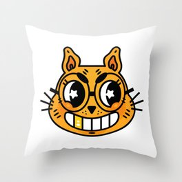 Mad Cat Throw Pillow