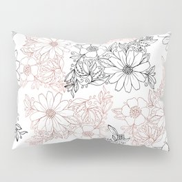 Hand drawn black faux rose gold floral Pillow Sham