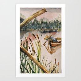 Fishing Through Cattails  Art Print