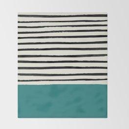 Teal x Stripes Throw Blanket