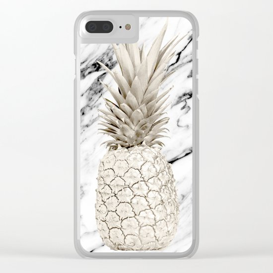 Marble Pineapple Clear iPhone Case