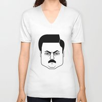 swanson V-neck T-shirts featuring Ron Swanson by Jude Landry