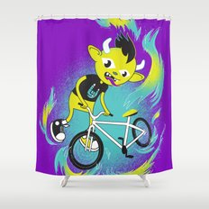 Monster Pixie Riding a Fixie Shower Curtain