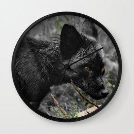 Black fox cub portrait Wall Clock