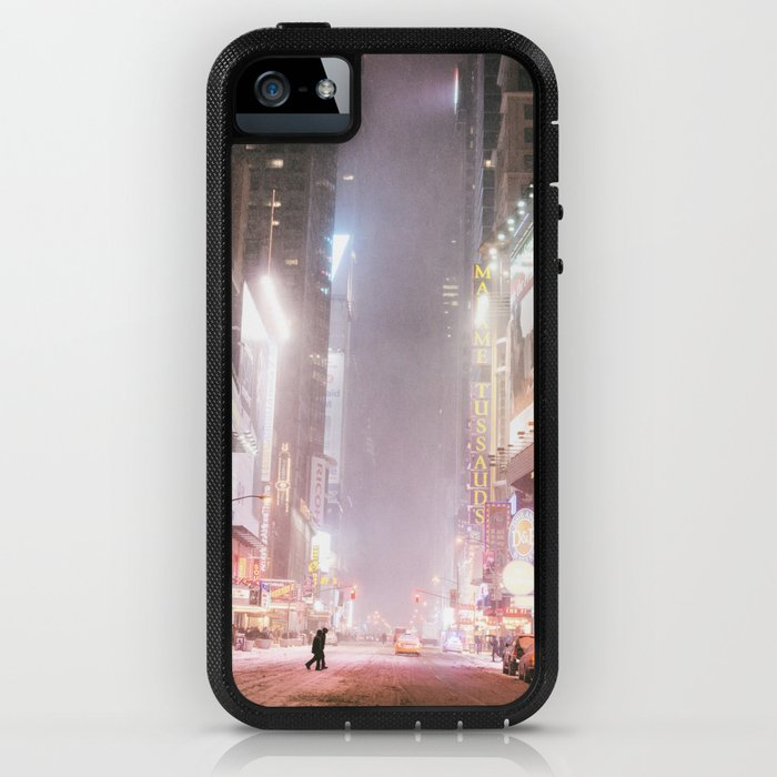 New York City Colorful Snowy Night in Times Square iPhone Case