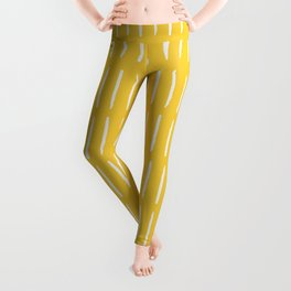 Line Dashes (white on yellow) Leggings