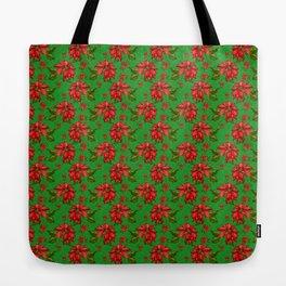 Red Poinsettia Plaid Tote Bag