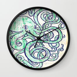Turquoise Octopus Wall Clock