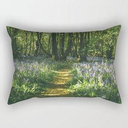 Path through wild Bluebells in ancient woodland. Wayland Wood, Norfolk, UK. Rectangular Pillow