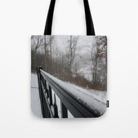 rileigh smirl Tote Bags featuring Snowy Rail by Rileigh Smirl