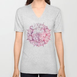 Burgundy Blush Watercolor Mandala Unisex V-Neck