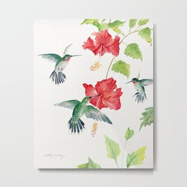 Hummingbirds and Hibiscus  Metal Print