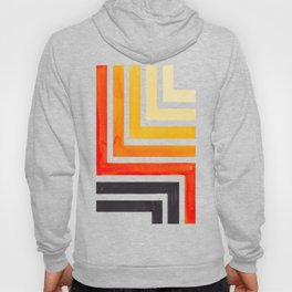 Orange Mid Century Modern Watercolor Colorful Ancient Aztec Art Pattern Minimalist Geometric Pattern Hoody