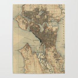 Vintage Map of Seattle Washington (1908) 2 Poster