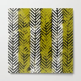 Yellow Herringbone Metal Print