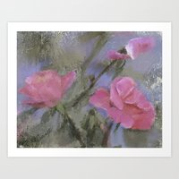 Dora Crowell's Summer Roses Digital Watercolor Art Print