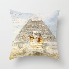 Cheops Pyramid and  Sphinx, Cairo Egypt Throw Pillow