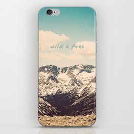 Wild and Free Faded Colorado Mountains Landscape, Clouds, blue skies, rockies iPhone Skin