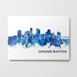 Grand Rapids Michigan Skyline Blue Metal Print