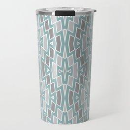 Tribal Diamond Pattern in Seafoam and Grays Travel Mug