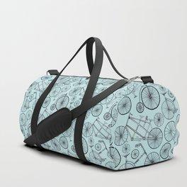 Monochrome Vintage Bicycles On Soft Blue Duffle Bag
