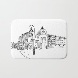 drawing pencil. the city central street, a streetlight on a front background. beginning of the 19th Bath Mat