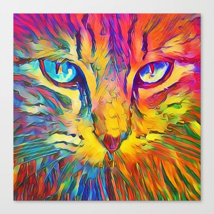 Neon Rainbow Cat Leinwanddruck