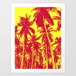 Palm Trees Design in Red and Yellow Art Print