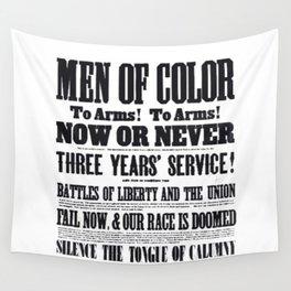 African American Freemen of Color Civil War Recruitment Broadside Advertising Poster Wall Tapestry